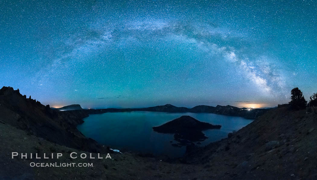 Milky Way and stars over Crater Lake at night. Panorama of Crater Lake and Wizard Island at night, Crater Lake National Park. Oregon, USA, natural history stock photograph, photo id 28641
