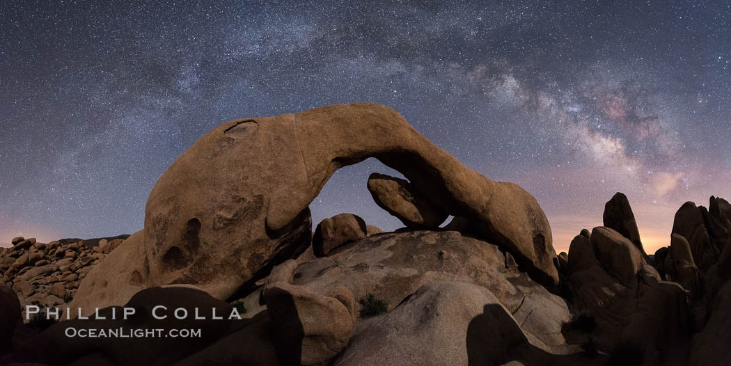 Milky Way during Full Lunar Eclipse over Arch Rock, Joshua Tree National Park, April 4 2015. Joshua Tree National Park, California, USA, natural history stock photograph, photo id 30716