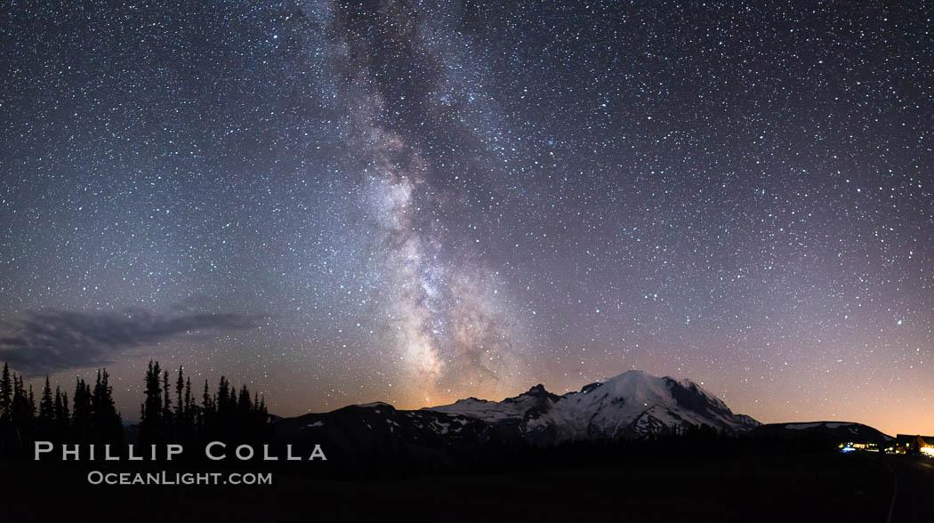 Milky Way and stars at night above Mount Rainier. Sunrise, Mount Rainier National Park, Washington, USA, natural history stock photograph, photo id 28727