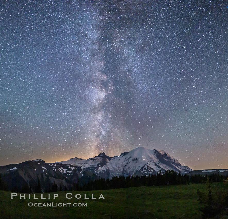 Milky Way and stars at night above Mount Rainier. Sunrise, Mount Rainier National Park, Washington, USA, natural history stock photograph, photo id 28729