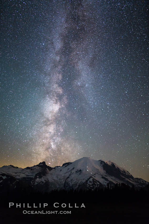 Milky Way and stars at night above Mount Rainier. Sunrise, Mount Rainier National Park, Washington, USA, natural history stock photograph, photo id 28733