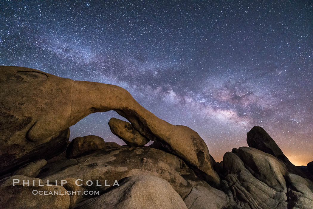Milky Way at Night over Arch Rock, Joshua Tree National Park. California, USA, natural history stock photograph, photo id 29195