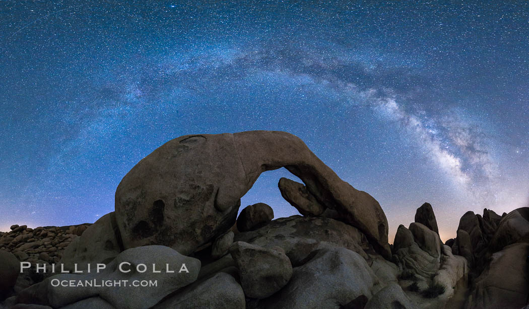 Milky Way at Night over Arch Rock, Joshua Tree National Park. Joshua Tree National Park, California, USA, natural history stock photograph, photo id 29197