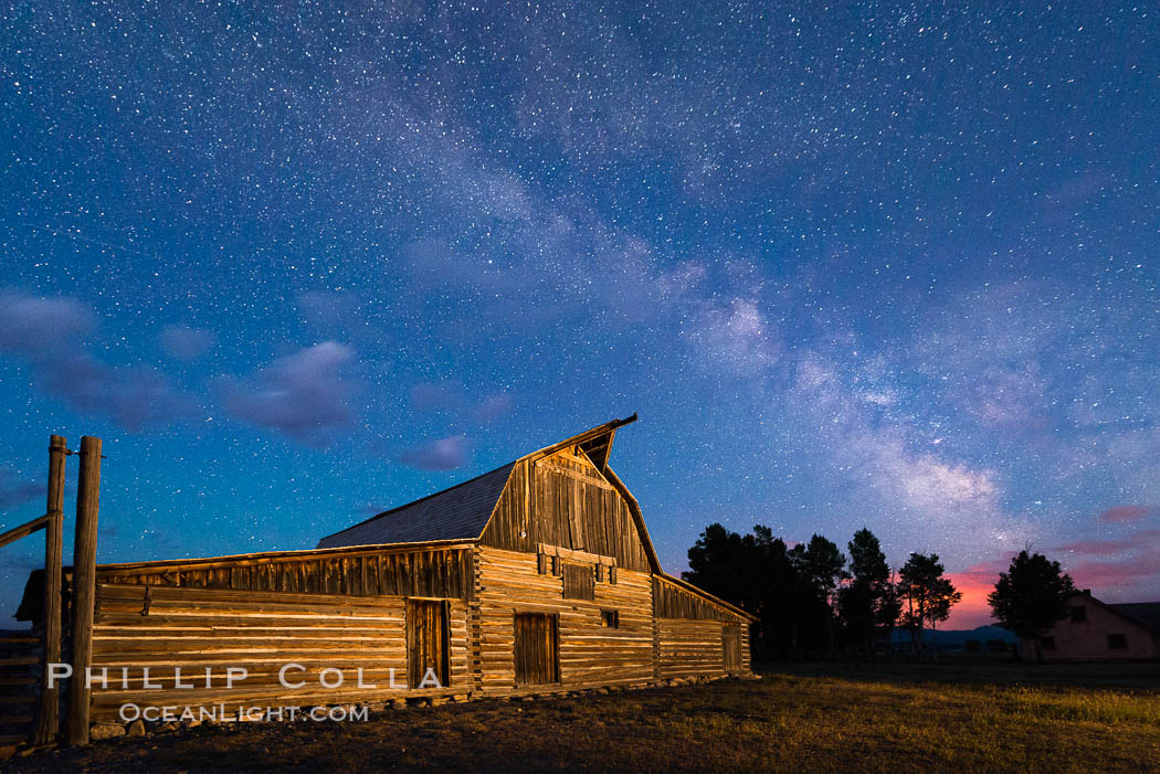 Milky Way over John Moulton Barn, Grand Teton National Park, natural history stock photograph, photo id 32301