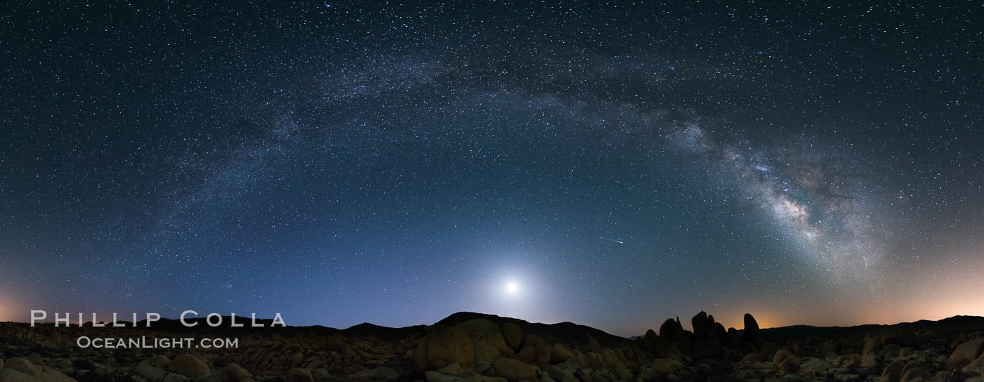 Joshua Tree National Park, Milky Way and Moon, Shooting Star, Comet Panstarrs, Impending Dawn. Joshua Tree National Park, California, USA, natural history stock photograph, photo id 28408