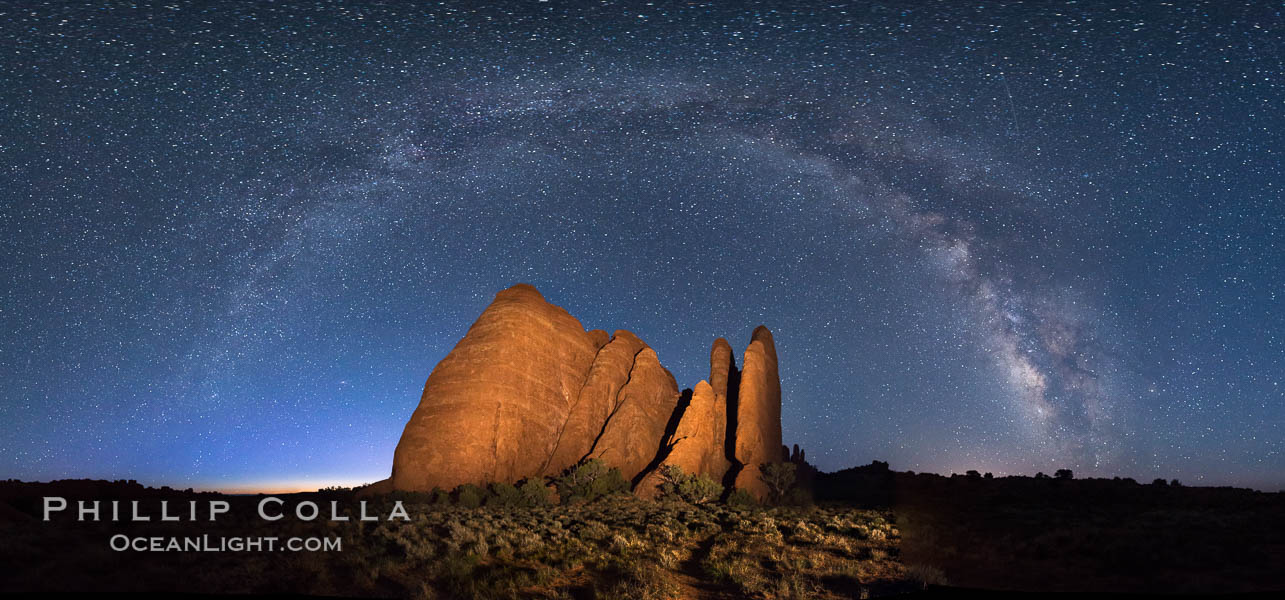 Milky Way over Sandstone Fins. Sandstone fins stand on edge.  Vertical fractures separate standing plates of sandstone that are eroded into freestanding fins, that may one day further erode into arches. Arches National Park, Utah, USA, natural history stock photograph, photo id 29253