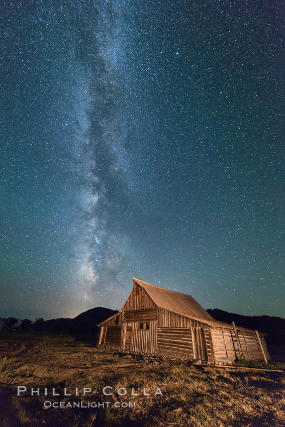Milky Way over T.A. Moulton Barn, Grand Teton National Park, natural history stock photograph, photo id 32316