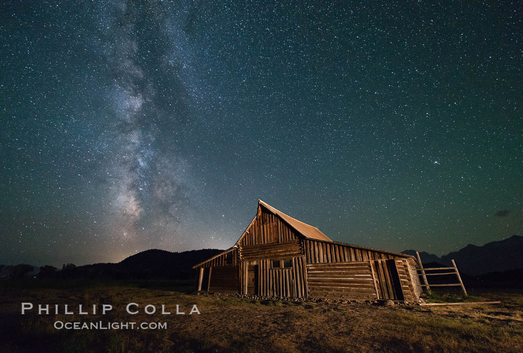 Milky Way over T.A. Moulton Barn, Grand Teton National Park, natural history stock photograph, photo id 32315