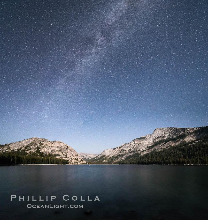 Image 31184, Milky Way over Tenaya Lake, Polly Dome (left), Tenaya Peak (center), Yosemite National Park. Yosemite National Park, California, USA