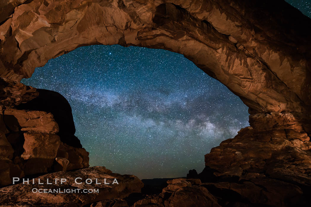 Milky Way through North Window, Arches National Park. North Window, Arches National Park, Utah, USA, natural history stock photograph, photo id 29277