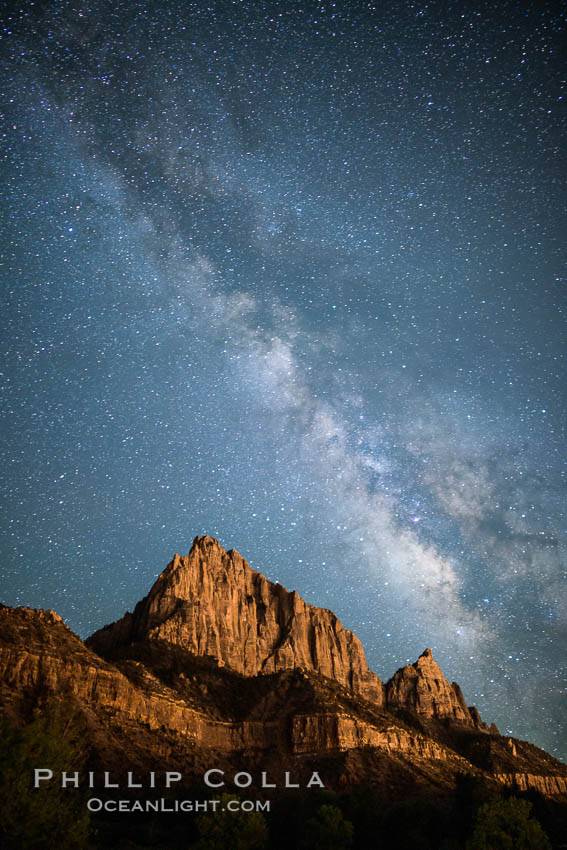Milky Way over the Watchman, Zion National Park.  The Milky Way galaxy rises in the night sky above the the Watchman. Zion National Park, Utah, USA, natural history stock photograph, photo id 28586