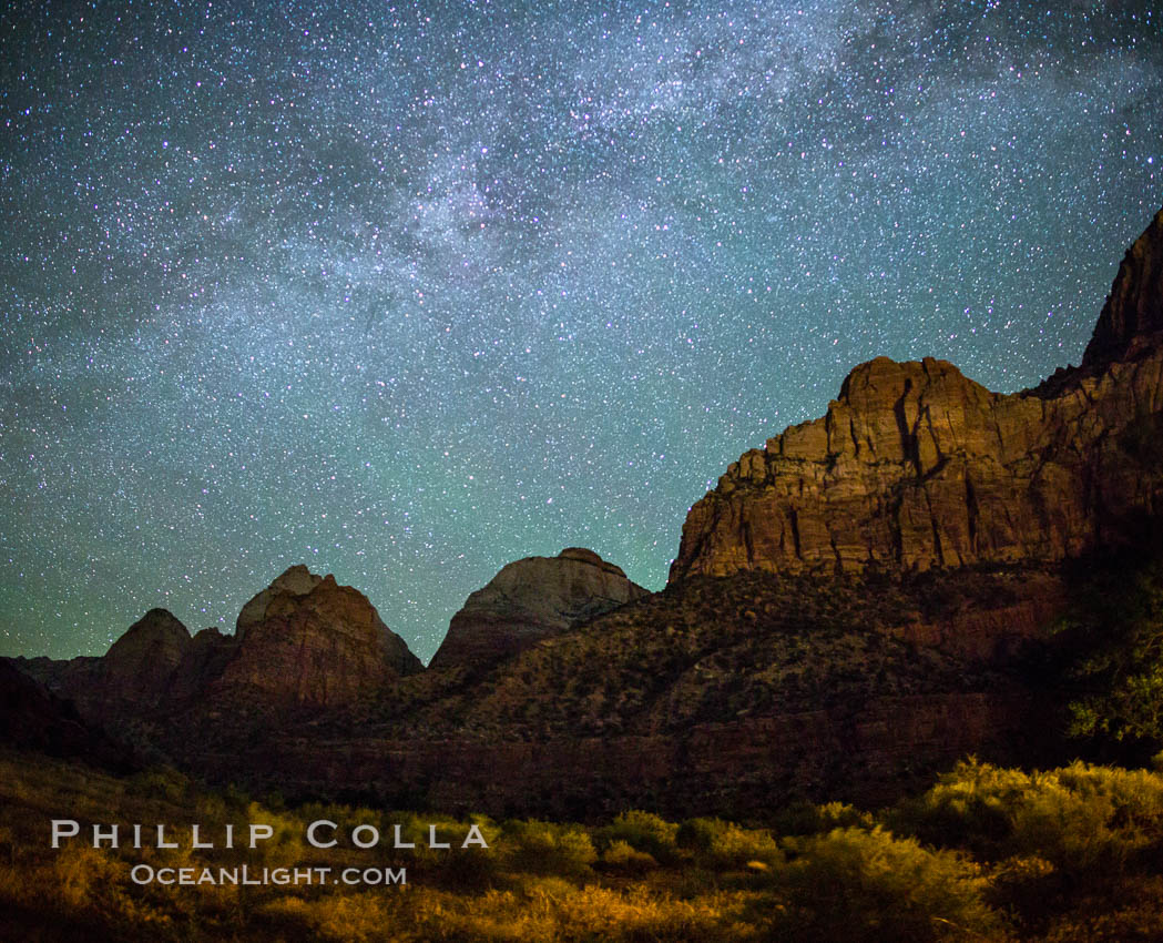 Milky Way over the Watchman, Zion National Park.  The Milky Way galaxy rises in the night sky above the the Watchman. Utah, USA, natural history stock photograph, photo id 28592