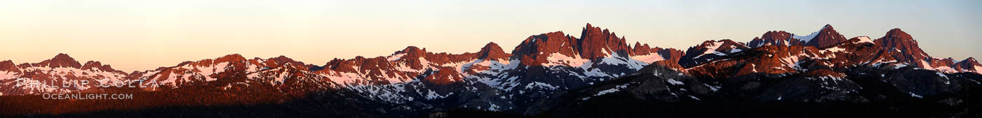Panorama of the Minarets at sunrise, near Mammoth Mountain.  The Minarets are a series of seventeen jagged peaks in the Ritter Range, west of Mammoth Mountain in the Ansel Adams Wilderness.  These basalt peaks were carved by glaciers on both sides of the range.  The highest of the Minarets stands 12,281 feet above sea level. Mammoth Lakes, California, USA, natural history stock photograph, photo id 19123