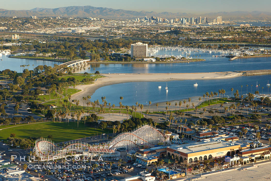 "Mission Bay, is the largest man-made aquatic park in the country.  It spans 4,235 acres and is split nearly evenly between land and water.  It is situated between the communities of Pacific Beach, Mission Beach, Bay Park and bordered on the south by the San Diego River channel.  Once named ""False Bay"" by Juan Cabrillo in 1542, the tidelands were dredged in the 1940's creating the basins and islands of what is now Mission Bay. California, USA, natural history stock photograph, photo id 22381"