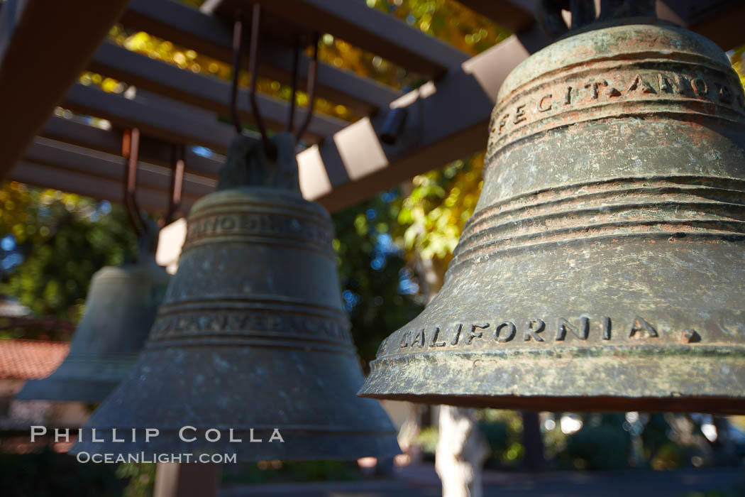 Mission bells, Mission San Luis Obispo del Tolosa.  Established in 1772, Mission San Luis Obispo de Tolosa is a Spanish mission founded by Junipero Serra, first president of the California missions.  It was the fifth in a chain of 21 missions stretching from San Diego to Sonoma.  Built by the Chumash indians living in the area, its combination of belfry and vestibule is unique among California missions.  In 1846 John C. Fremont and his California battalion quartered here while engaged in the war with Mexico. Mission San Luis Obispo de Tolosa, San Luis Obispo, California, USA, natural history stock photograph, photo id 22234