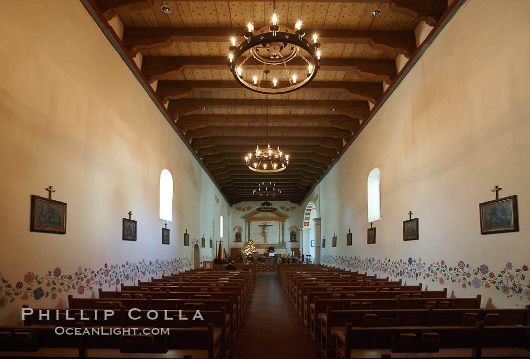 Mission San Luis Obispo del Tolosa, chapel interior.  Established in 1772, Mission San Luis Obispo de Tolosa is a Spanish mission founded by Junipero Serra, first president of the California missions.  It was the fifth in a chain of 21 missions stretching from San Diego to Sonoma.  Built by the Chumash indians living in the area, its combination of belfry and vestibule is unique among California missions.  In 1846 John C. Fremont and his California battalion quartered here while engaged in the war with Mexico. Mission San Luis Obispo de Tolosa, San Luis Obispo, California, USA, natural history stock photograph, photo id 22230