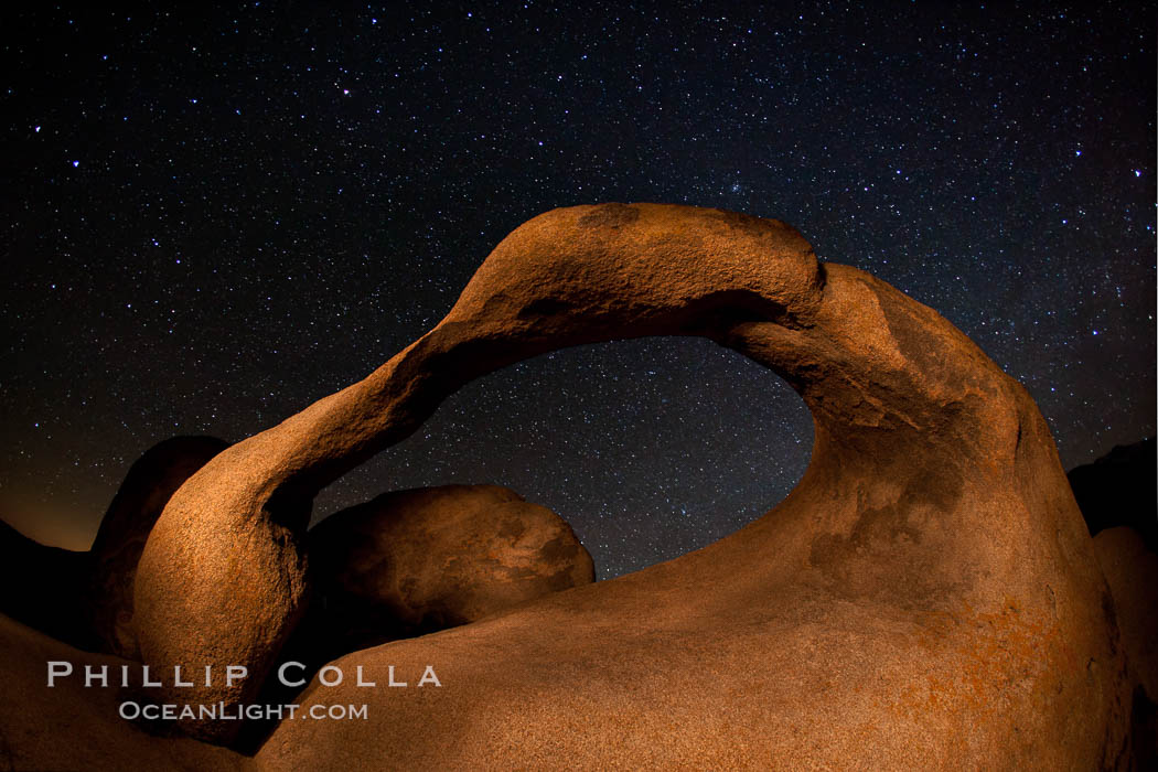 Mobius Arch and stars at night, Alabama Hills, California. Alabama Hills Recreational Area, California, USA, natural history stock photograph, photo id 27678