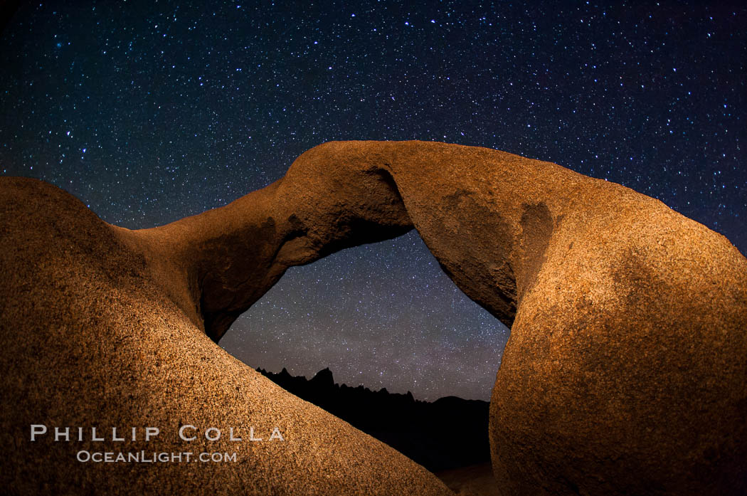 Mobius Arch and stars at night, Alabama Hills, California. Alabama Hills Recreational Area, California, USA, natural history stock photograph, photo id 27680