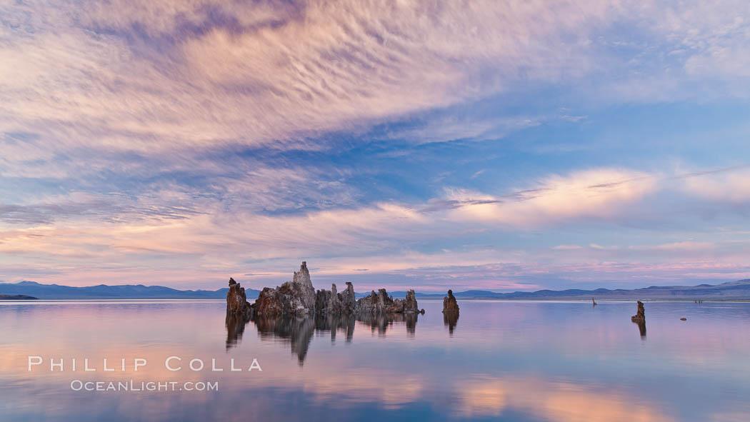 Mono Lake sunset, tufa and clouds reflected in the still waters of Mono Lake. Mono Lake, California, USA, natural history stock photograph, photo id 27005
