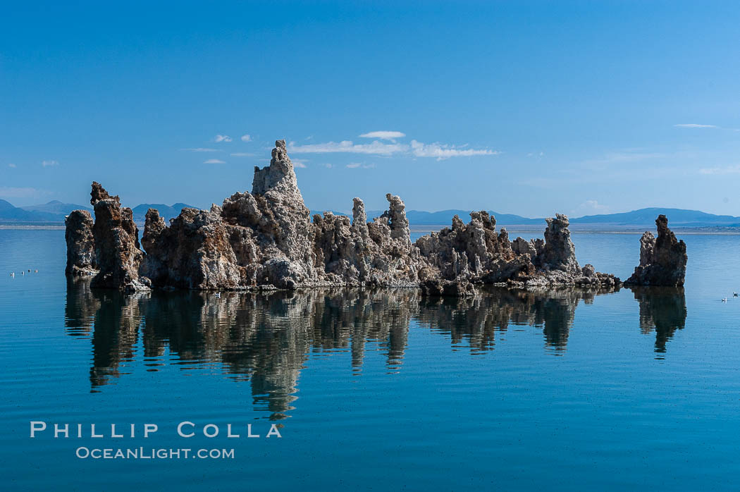 Tufa towers rise from Mono Lake.  Tufa towers are formed when underwater springs rich in calcium mix with lakewater rich in carbonates, forming calcium carbonate (limestone) structures below the surface of the lake.  The towers were eventually revealed when the water level in the lake was lowered starting in 1941.  South tufa grove, Navy Beach. California, USA, natural history stock photograph, photo id 09928