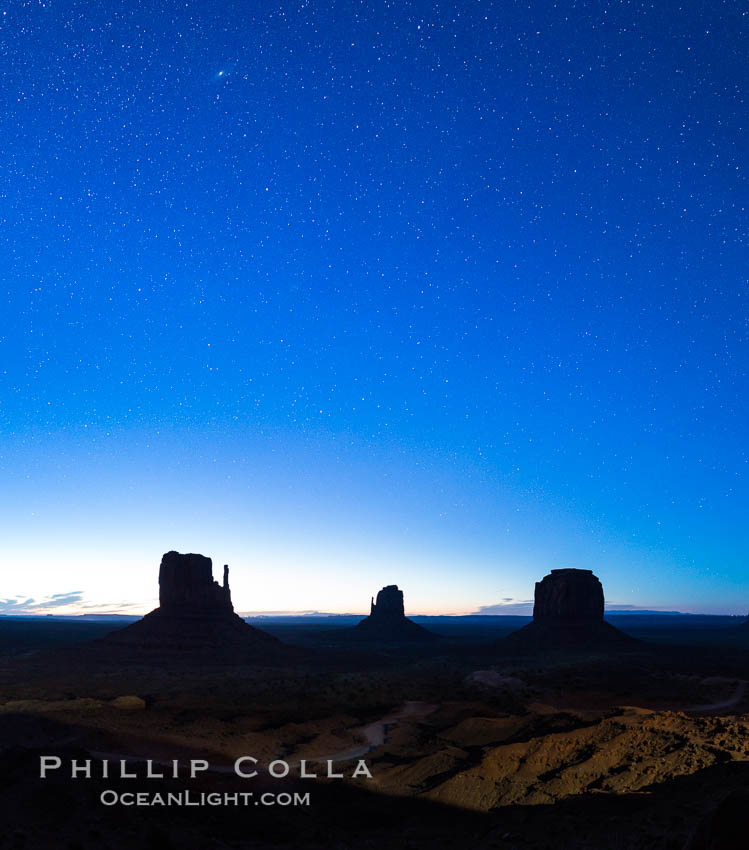 Monument Valley panorama, sunrise, dawn, stars in the sky. Arizona, USA, natural history stock photograph, photo id 28599