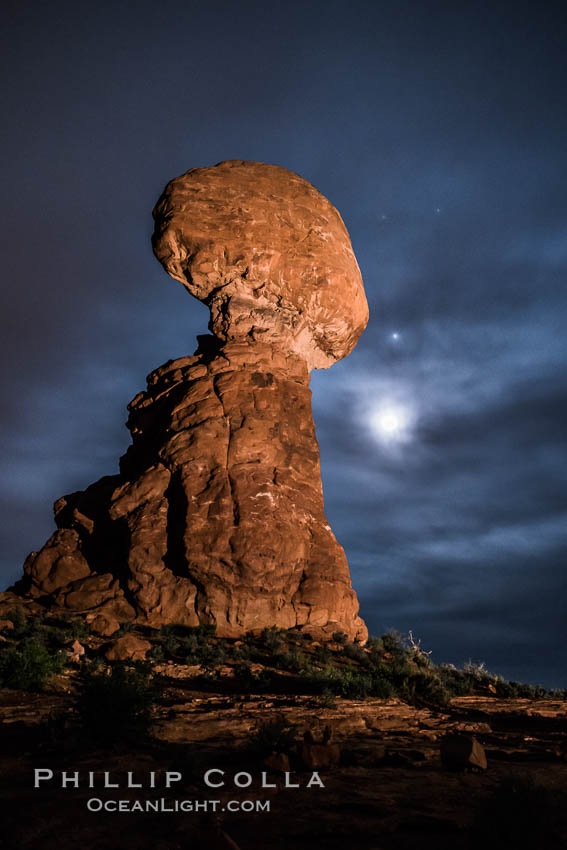Moon and Stars over Balanced Rock, Arches National Park. Balanced Rock, Arches National Park, Utah, USA, natural history stock photograph, photo id 29232