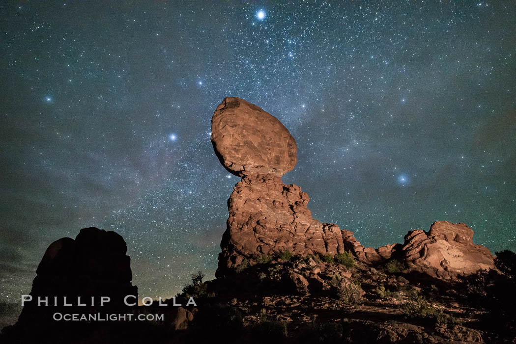 Moon and Stars over Balanced Rock, Arches National Park. Balanced Rock, Arches National Park, Utah, USA, natural history stock photograph, photo id 29236