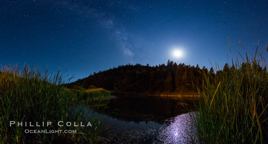 Moon and Milky Way over Doane Pond, Palomar Mountain State Park. Palomar Mountain State Park, California, USA, natural history stock photograph, photo id 28749