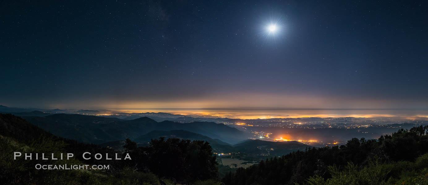 Moon and Stars over Pauma Valley, viewed from Palomar Mountain State Park. Palomar Mountain State Park, California, USA, natural history stock photograph, photo id 28751