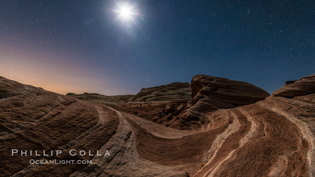 The Fire Wave by Moonlight, stars and the night sky, Valley of Fire State Park. Nevada, USA, natural history stock photograph, photo id 28439
