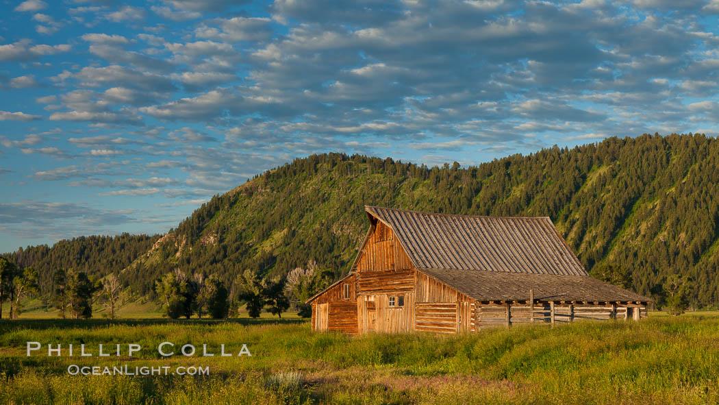 John Moulton barn with Teton Range, on Mormon Row in Grand Teton National Park, Wyoming. Grand Teton National Park, Wyoming, USA, natural history stock photograph, photo id 26927