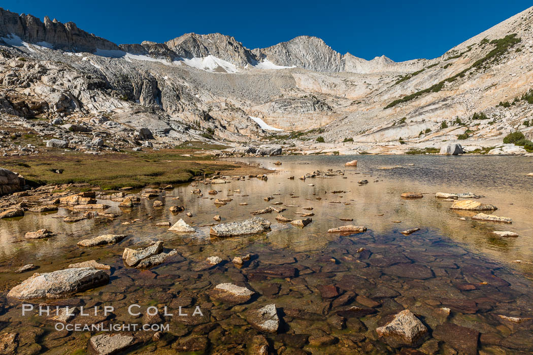 Mount Conness (12,589') over Lower Conness Lake, Hoover Wilderness. Conness Lakes Basin, California, USA, natural history stock photograph, photo id 36424