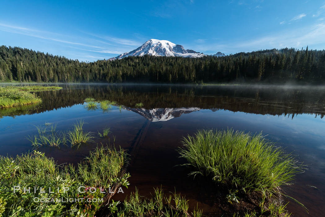 Mount Rainier is reflected in the calm waters of Reflection Lake, early morning. Mount Rainier National Park, Washington, USA, natural history stock photograph, photo id 28707