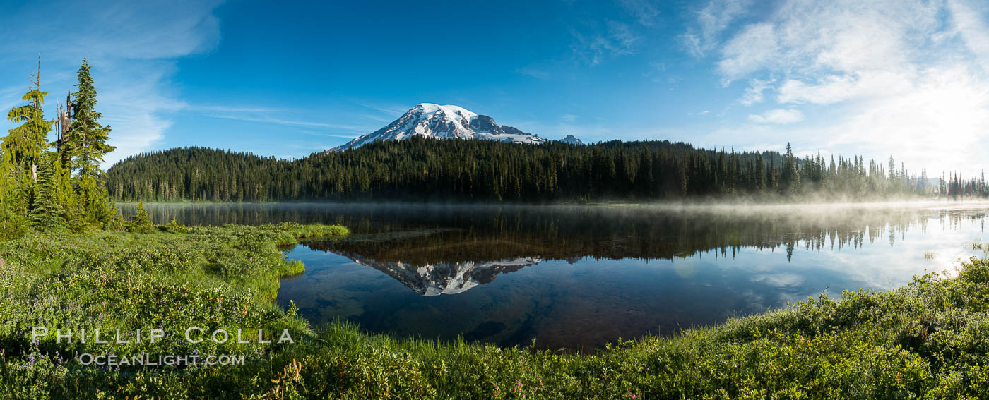Mount Rainier is reflected in the calm waters of Reflection Lake, early morning. Mount Rainier National Park, Washington, USA, natural history stock photograph, photo id 28705