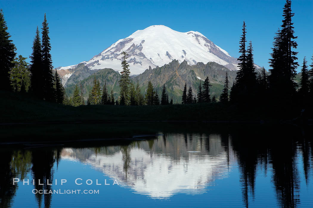 Mount Rainier is reflected in Upper Tipsoo Lake. Tipsoo Lakes, Mount Rainier National Park, Washington, USA, natural history stock photograph, photo id 13827