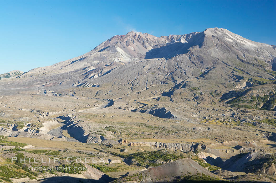 Mount St. Helens viewed from Johnston Observatory five miles away, showing western flank that was devastated during the 1980 eruption. Mount St. Helens National Volcanic Monument, Washington, USA, natural history stock photograph, photo id 13931