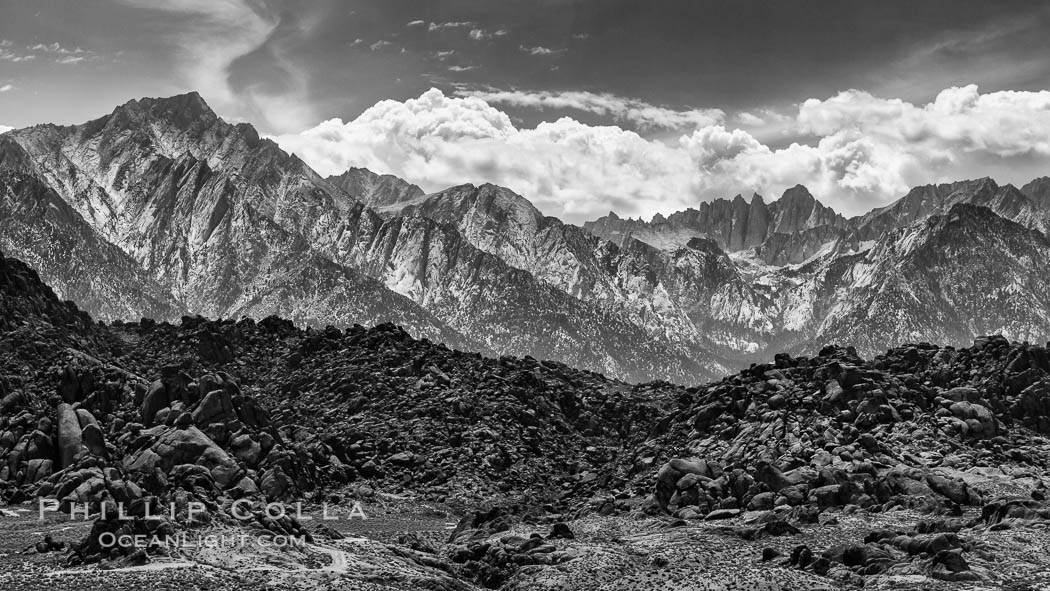 Mount Whitney and Lone Pine Peak over the Alabama Hills, natural history stock photograph, photo id 28691