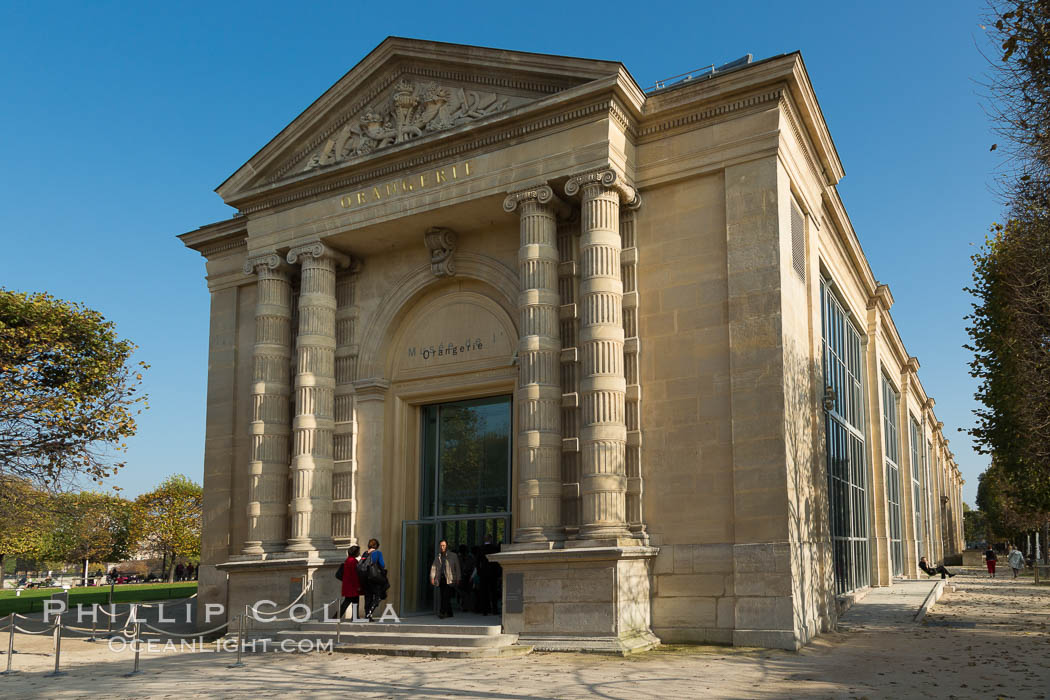 Musee de l'Orangerie, an art gallery of impressionist and post-impressionist paintings located in the west corner of the Tuileries Gardens next to the Place de la Concorde in Paris. Musee de lOrangerie, France, natural history stock photograph, photo id 28232