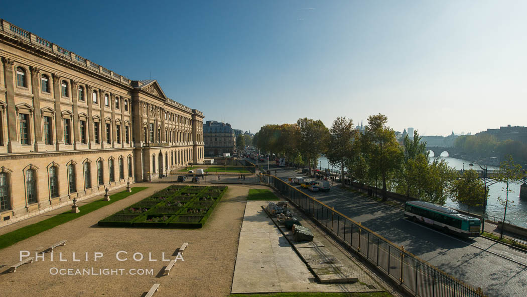 Musee du Louvre and Seine River, viewed from Pavilion Denon. Musee du Louvre, Paris, France, natural history stock photograph, photo id 28041