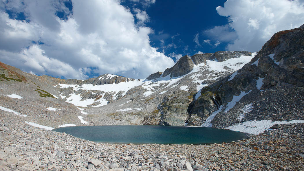Nameless Lake (10709'), surrounded by glacier-sculpted granite peaks of the Cathedral Range, near Vogelsang High Sierra Camp. Yosemite National Park, California, USA, natural history stock photograph, photo id 23205