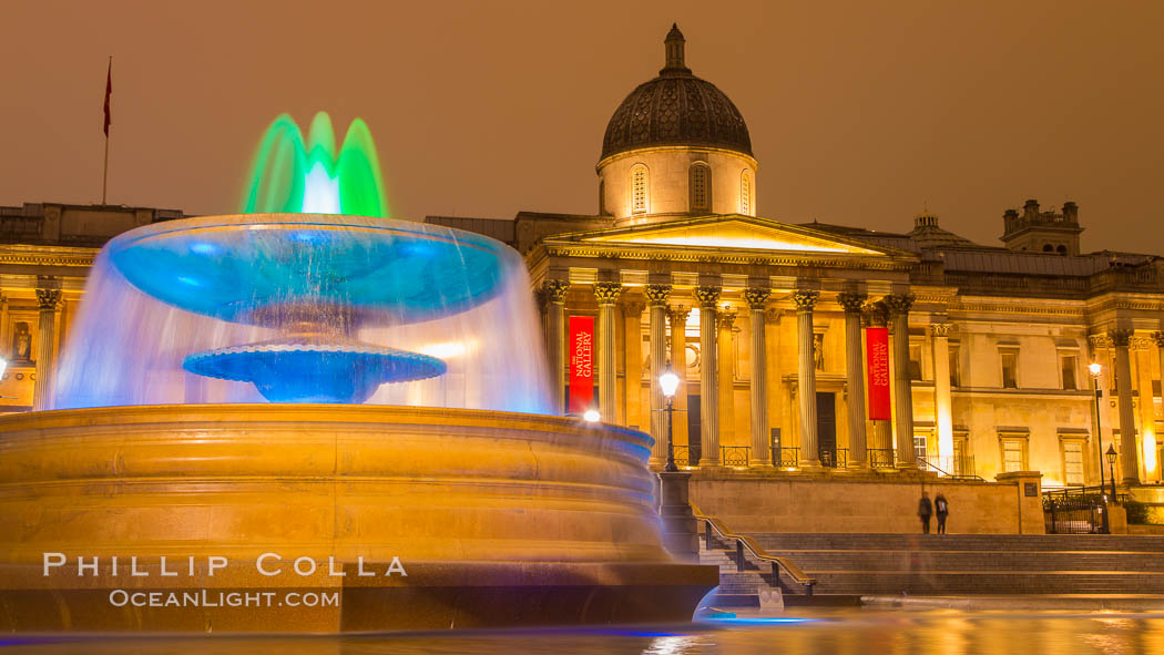 National Gallery at Night. London, United Kingdom, natural history stock photograph, photo id 28287