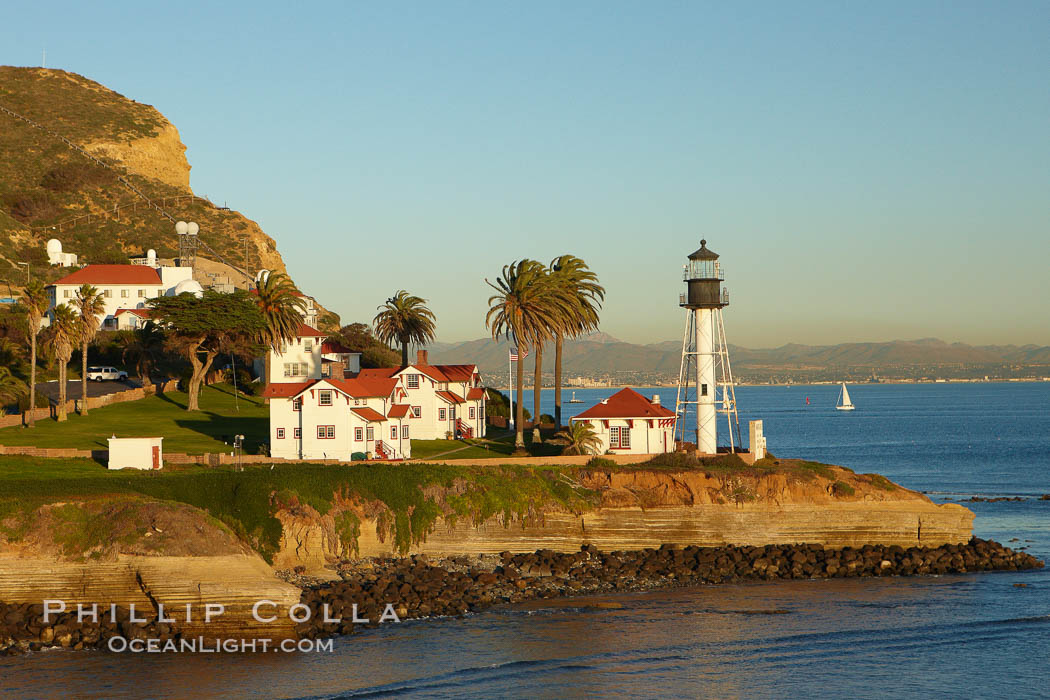 "New Point Loma Lighthouse, situated on the tip of Point Loma Peninsula, marks the entrance to San Diego Bay.  The lighthouse rises 70' and was built in 1891 to replace the ""old""  Point Loma Lighthouse which was often shrouded in fog. California, USA, natural history stock photograph, photo id 22347"