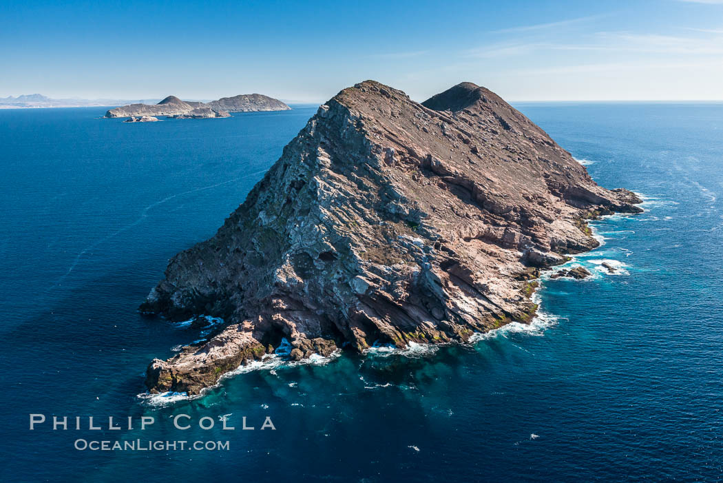 North Coronado Island, Mexico, northern point looking south with Middle and South Islands in the distance, aerial photograph. Coronado Islands (Islas Coronado), Baja California, natural history stock photograph, photo id 29052