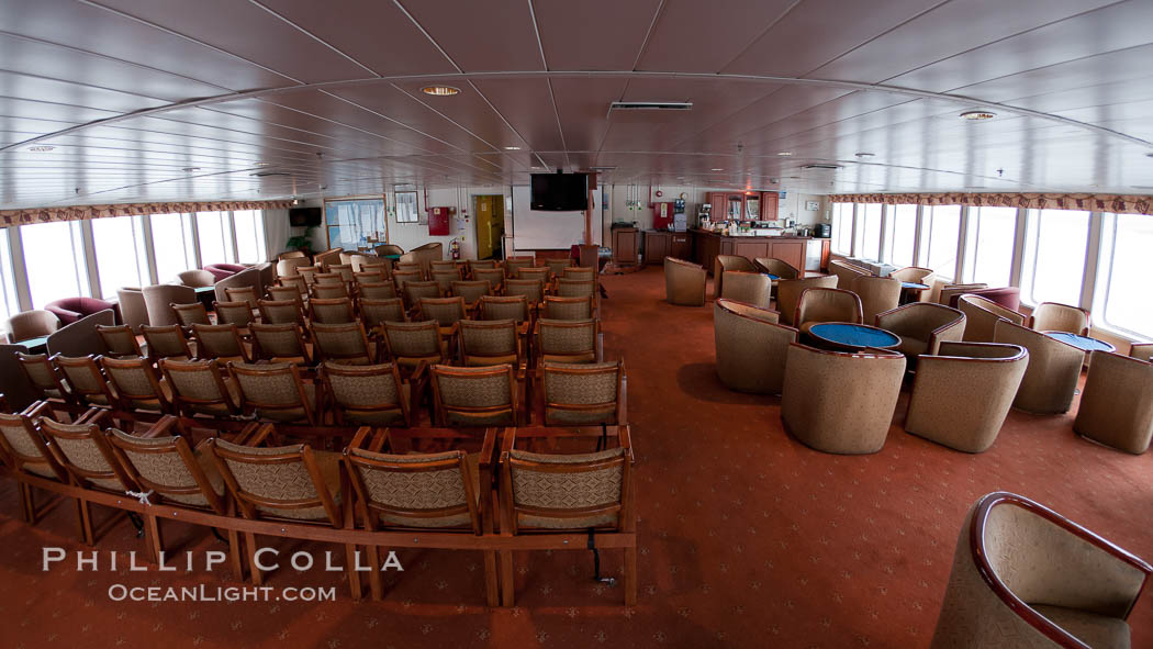 Image 23714, Observation lounge of the icebreaker ship M/V Polar Star.  This is where lectures and happy hours are held., Phillip Colla, all rights reserved worldwide. Keywords: boat, icebreaker, m v polar star, polar star, ship.