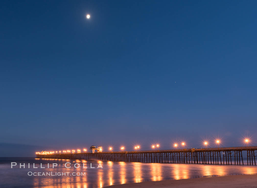 Full Moon over Oceanside Pier at Dawn. Oceanside, California, USA, natural history stock photograph, photo id 28875