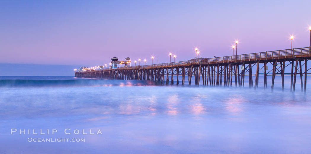 Oceanside Pier at sunrise, dawn, morning. California, USA, natural history stock photograph, photo id 27233