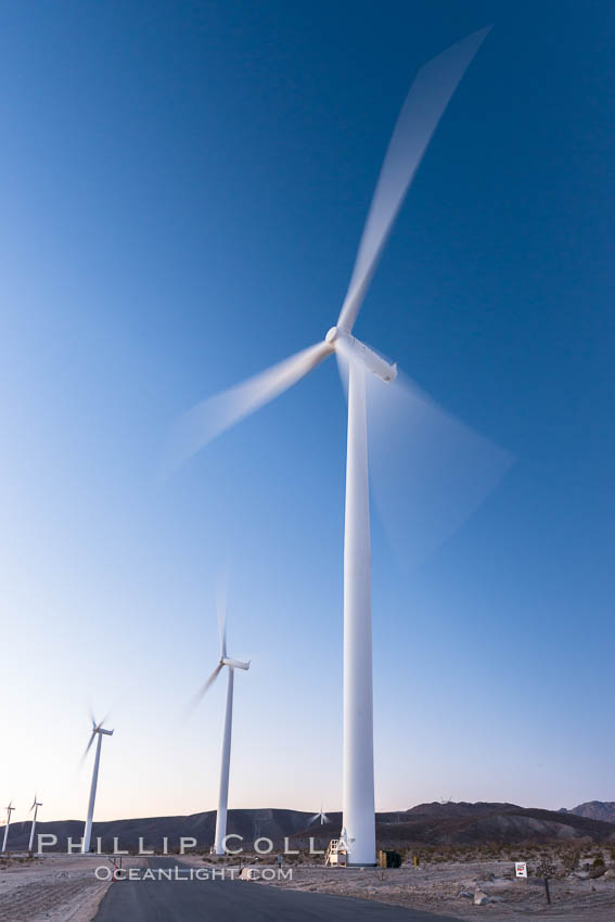 Ocotillo Express Wind Energy Projects, moving turbines lit by the rising sun, Ocotillo, California, USA, natural history stock photograph, photo id 30252
