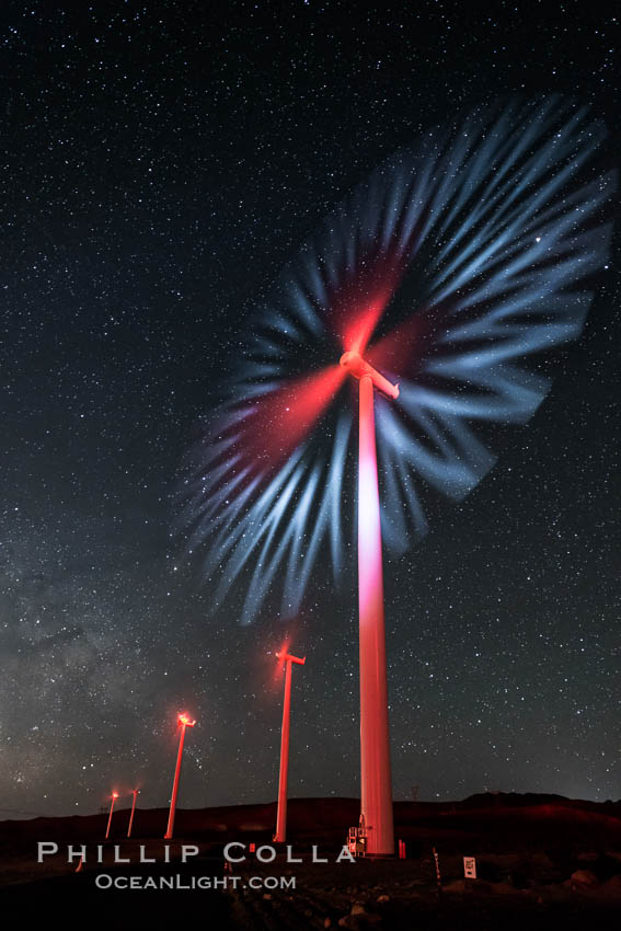 Ocotillo Wind Energy Turbines, at night with stars and the Milky Way in the sky above, the moving turbine blades illuminated by a small flashlight. Ocotillo, California, USA, natural history stock photograph, photo id 30232