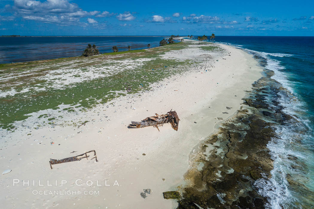 Old shipwreck debris on Clipperton Island aerial photo. Clipperton Island, a minor territory of France also known as Ile de la Passion, is a spectacular coral atoll in the eastern Pacific. By permit HC / 1485 / CAB (France). Clipperton Island, France, natural history stock photograph, photo id 32880