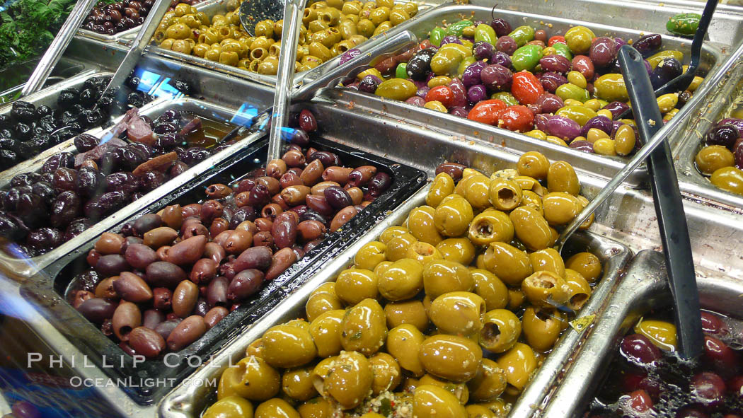 Olives for sale at the Public Market, Granville Island, Vancouver. British Columbia, Canada, natural history stock photograph, photo id 21205